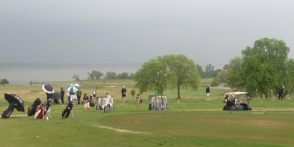 Rain delayed the start of the 5A Region II boys' golf tournament in Rockwall on Wednesday morning.