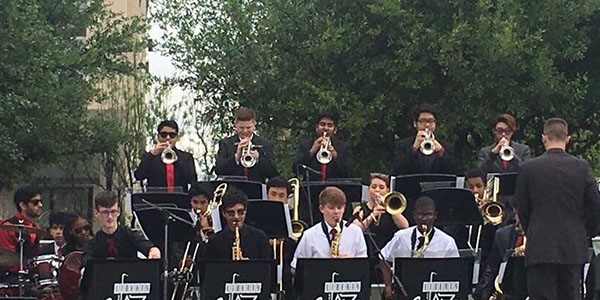 The school's jazz ensembles made their debut performances at Frisco Arts in the Square Saturday.
