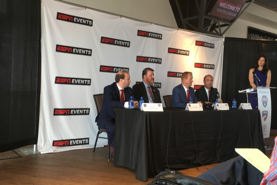 Announcing+the+first+college+football+bowl+game+to+be+held+in+the+city%2C+FCD+president+Dan+Hunt%2C+Associate+commissioner+of+AAC+Scott+Draper%2C+mayor+of+Frisco+Jeff+Cheney%2C+and+VP+ESPN+Events+Clint+Overby+%28left+to+right%29+take+turns+speaking+at+a+news+conference+Tuesday+Toyota+Stadium.