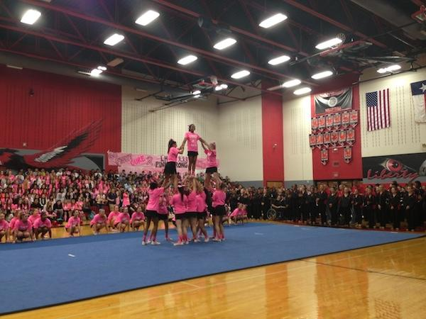 The LHS cheerleaders were among the various performers decked out in pink.