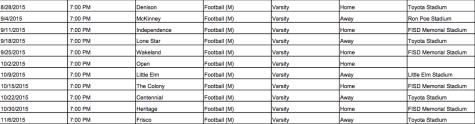 2015 varsity football schedule
