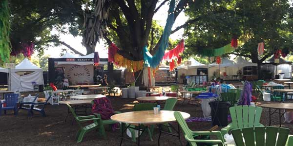 The artists village is a place for the performers and guests to chill in a relaxed and shady environment.