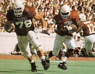 Recruited by the Longhorns out of Commerce High School, Brown became one of UT's all time leading rushers, averaging more than five yards a carry.