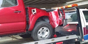The back end of Gunter Hawk's truck was heavily damaged as a result of the accident.
