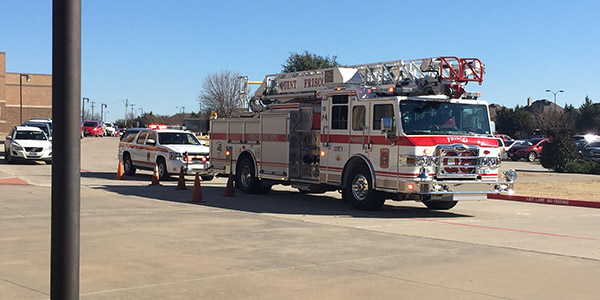 Frisco Fire Department trucks were in front of the school for a while Wednesday afternoon after a small grease fire ignited in the culinary arts room. There was no damage or injuries but the room filled with smoke leaving a smell that permeated much of the school.