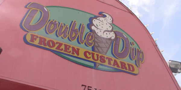 Double Dip sells frozen yogurt creations complete with both toppings and mix-ins.