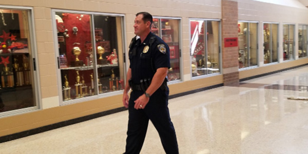 Walking the halls of a school for the first time as a School Resource Officer, Glen Hubbard brings more than 19 years of police experience to campus.
