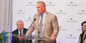 With Cowboys owner Jerry Jones to his left and Charlotte Jones Anderson to his right, Chief Operating Officer and Executive Vice President of the Dallas Cowboys, Stephen Jones addresses talks to the audience about The Star.