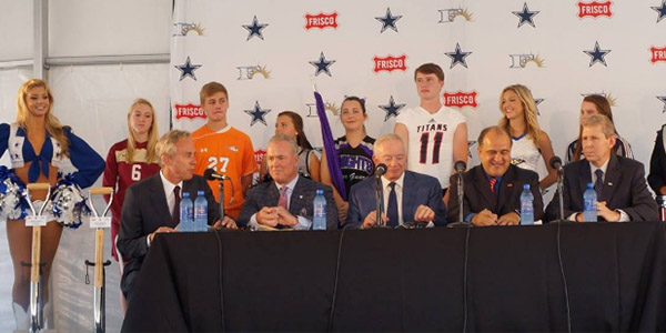 At the official groundbreaking ceremony for The Star, Stephen Jones (second from the left) is flanked by Frisco ISD students and FISD Superintendent Dr. Jeremy Lyon (far right).