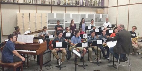 The 2015 All-Region Jazz Ensemble listens in at a rehearsal. This year junior Nathan Brooks and senior Aaron Stone took things a step further by being accepted into the All-State Jazz Ensemble II, one of the highest in-school achievements for a high school musician and will perform at the annual TMEA Convention in San Antonio in February.      Jazz Ensembles were announced Wednesday with four students making it on Jazz Ensemble 1 and four selected to Jazz Ensemble 2.