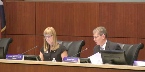 Superintendent Dr. Jeremy Lyon and school board president Anne McCausland sit on the dais during a Frisco ISD Board of Trustees meeting earlier this year.  The public portion of Monday's meeting begins at 7:30 p.m.