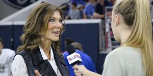 WTV Executive Producer Maddie Owens interviews Dallas Cowboys Executive Vice President Charlotte Jones Anderson on the field at the Ford Center. Jones is often called one of the most powerful women in the NFL but is still a minority in professional sports.