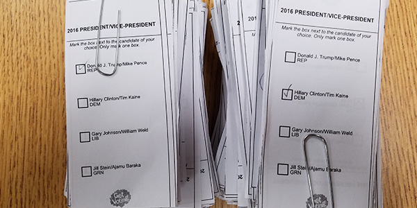 In Tuesday's JWAC mock election, voters could choose from the four presidential candidates.