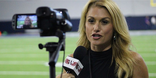 More often the one doing the interviews, NFL Network reporter Jane Slater is interviewed by WTV Executive Producer Maddie Owens.