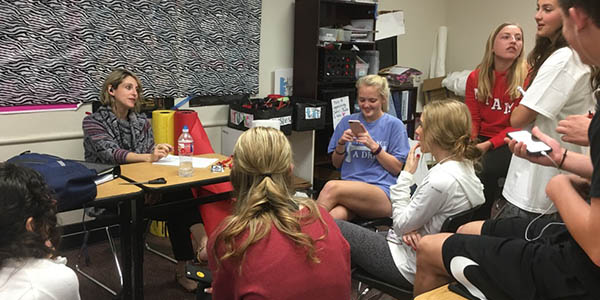 Student Council sits with assistant principal Stacey Whaling to discuss the 2017 senior prom. Prom is just one of many activities StuCo is involved with and starting Monday, interviews begin to be a part of next year's StuCo.