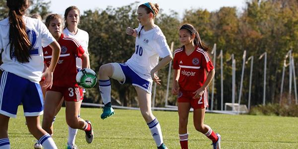 Katie Stoker is the only freshman on the schools varsity girls soccer team.