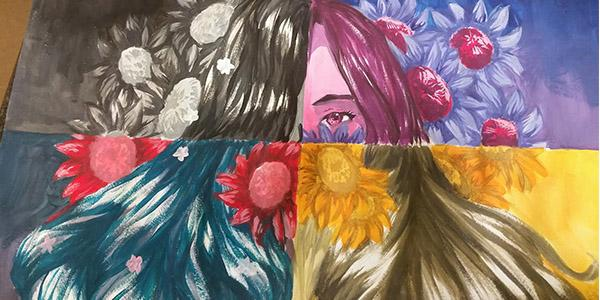 Senior Aamerah Hakue's artwork is one of six pieces selected by art teachers on campus to be showcase at Art in the Square Saturday and Sunday at Frisco Square.