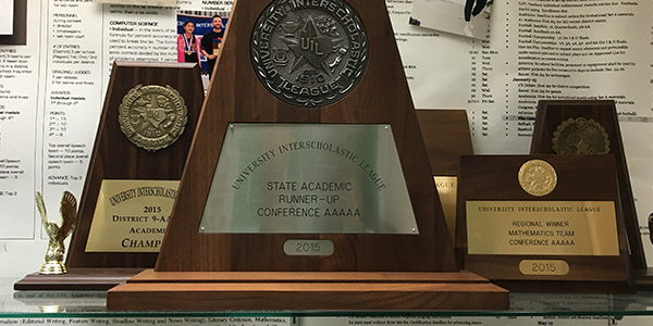 Eight students are in Austin Friday and Saturday for the UIL State Academic Meet with the hope of adding more trophies to the UIL trophy case in the C Hall by the library.