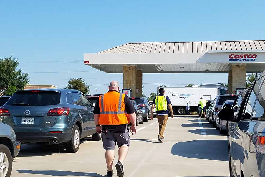Frisco's only Costco was a busy stop for gas on Thursday as drivers waited more than 20 minutes to fill up with the cheapest gas in town at $2.15.