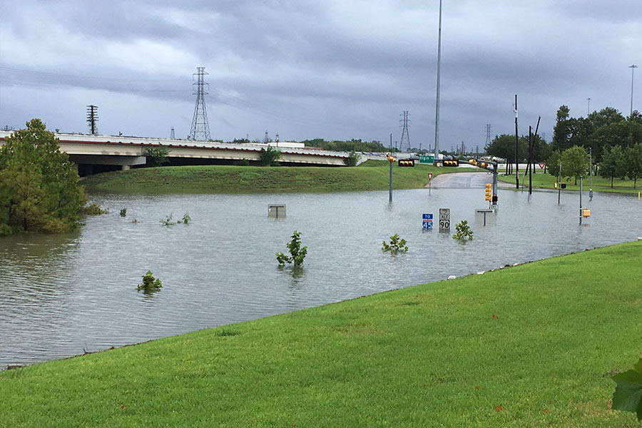 Taken from outside of office buildings on the University of Houston campus, many typically busy streets were flooded as a result of several feet of rain falling during Hurricane Harvey.