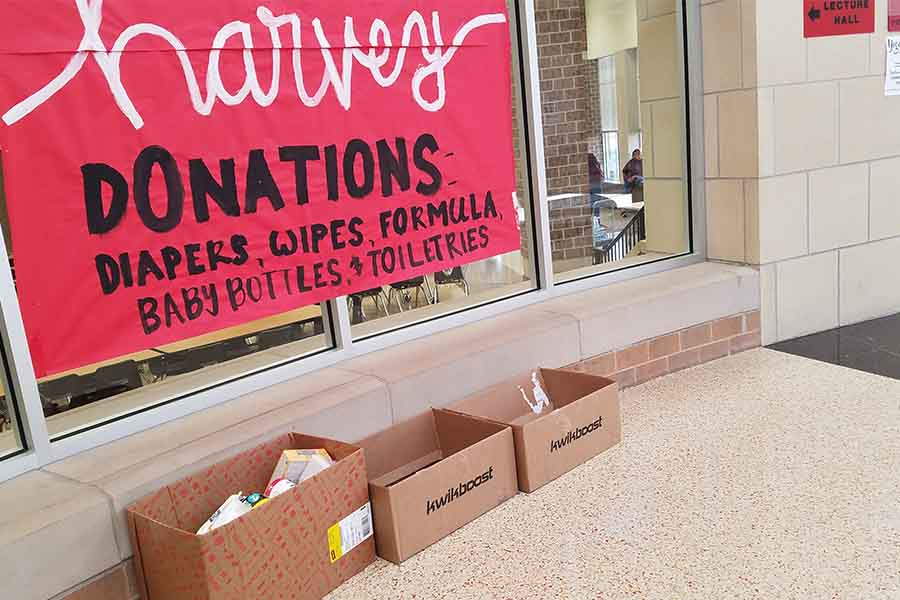 Collections boxes are set up in the rotunda for donations which will be provided to those affected by Hurricane Harvey. The donation drive is being led by student council in a partnership with the Frisco PTA.
