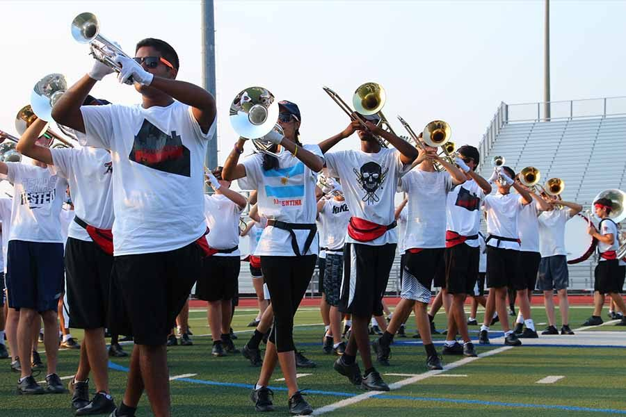 Starting+practice+in+the+summer%2C+the+road+to+state+starts+Saturday+for+the+marching+band+as+they+compete+in+Little+Elm+in+a+UIL+regional+competition.+