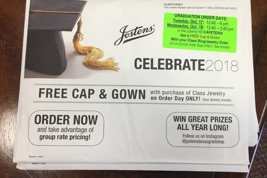 Jostens will be on campus Tuesday from 12:40-6 p.m. and Wednesday from 12:40-2:40 p.m. giving seniors a chance to order graduation items. Any senior ordering class ring/jewelry may get a free cap and gown. Seniors can pick up these graduation packets in the school's main office.