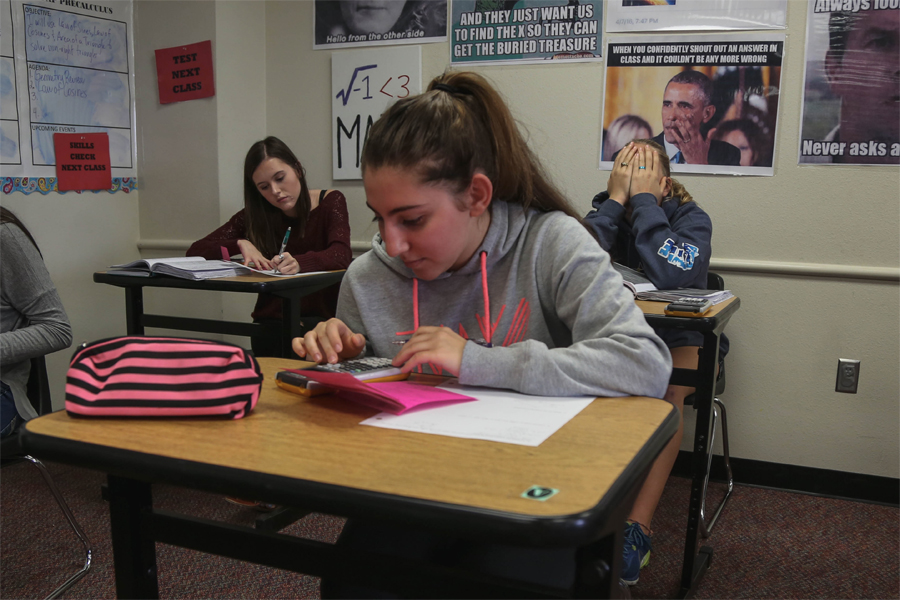 Working on a calculator in her math class, senior  Masa Arnaoot and her family left Syria for the United States just after civil war engulfed the country.