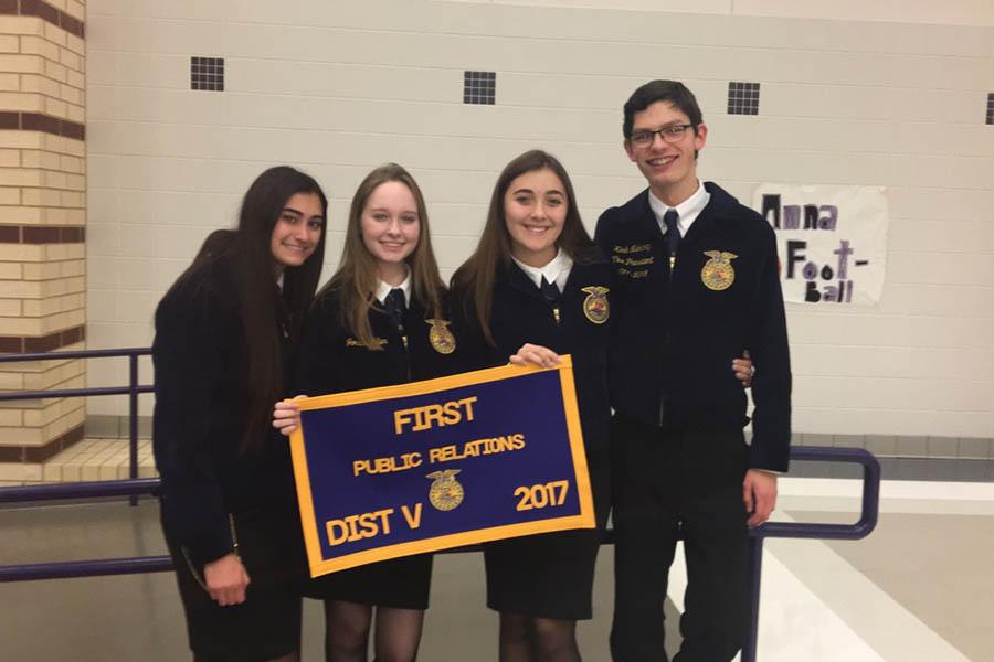 From left to right: senior Hanna Alnemer, junior Jordan Miller, senior Hailey Middleton, and senior Kirk Niekamp.