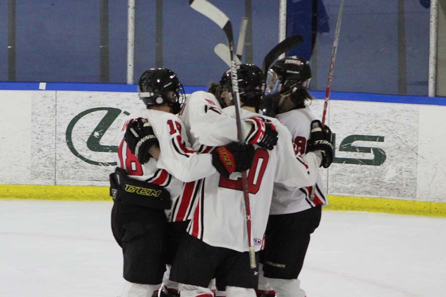 Celebrating a goal, junior Andrew Cimino (#20) and the rest of the Frisco hockey team are looking for a return to the national championship.