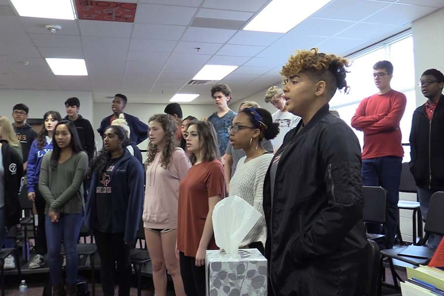Prior to Thursday's winter concert, choir students spent class time rehearsing a variety of songs to be performed in the cafeteria starting at 7 p.m.
