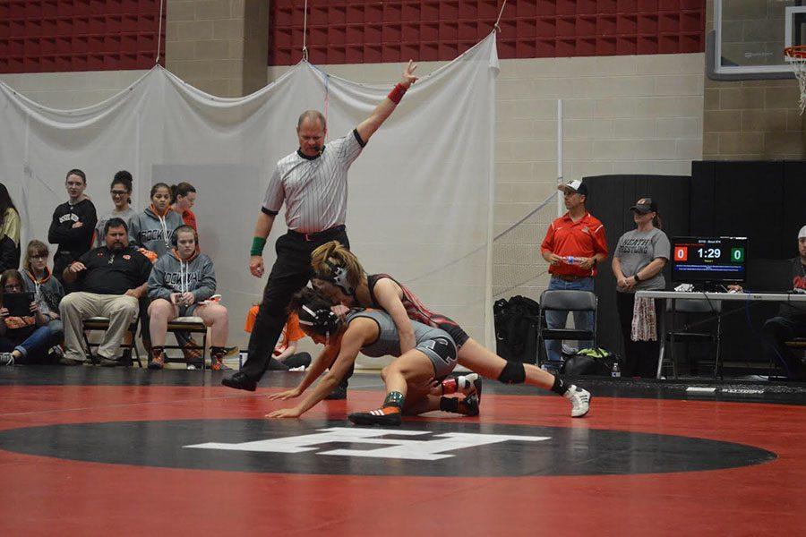 Junior Savannah West is a member of the Varsity girls wrestling team.