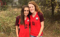 """Separated by just one number on their jersey, the Brown sisters, freshman Kallin (#12) and senior Kassidi (#11) are playing together on the Redhawks varsity team.   """"I think it's great that as sisters one of them is a senior and one of them is a freshman,"""" girls' head soccer coach Elizabeth Mokler said. """"So we've got the upperclassman leadership and the younger one also demonstrating not only talent potential, but an incredible work ethic."""