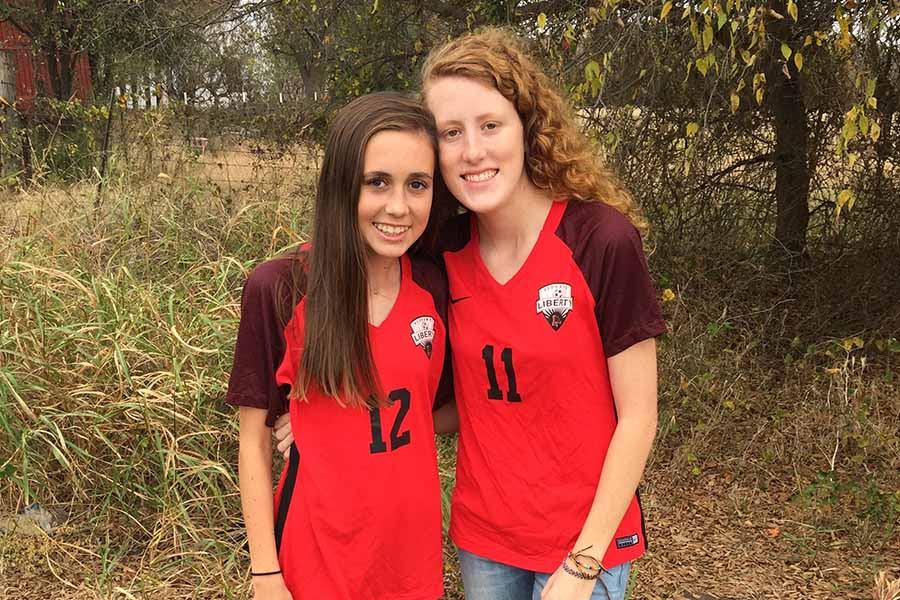 "Separated by just one number on their jersey, the Brown sisters, freshman Kallin (#12) and senior Kassidi (#11) are playing together on the Redhawks varsity team.   ""I think it's great that as sisters one of them is a senior and one of them is a freshman,"" girls' head soccer coach Elizabeth Mokler said. ""So we've got the upperclassman leadership and the younger one also demonstrating not only talent potential, but an incredible work ethic."
