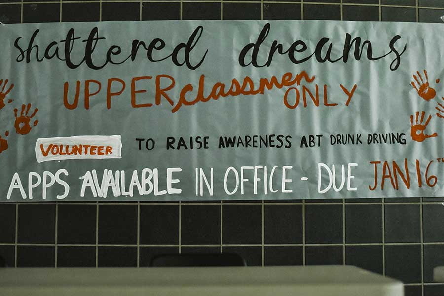 Students interested in signing up for Shattered Dreams can pick up an application outside School Resource Officer Glen Hubbard's office. Completed applications are due Tuesday with Shattered Dreams taking place on campus March 22-23.