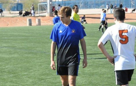 In his 13th year playing soccer, sophomore John Keene takes the field in Las Vegas for a competitive soccer tournament.