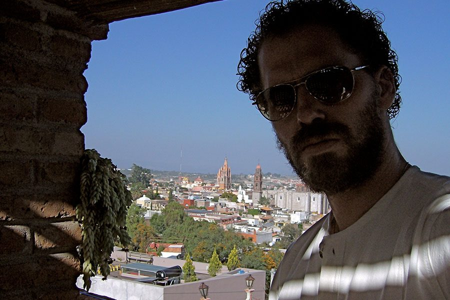 Reedy takes in the view from an artist's rooftop.