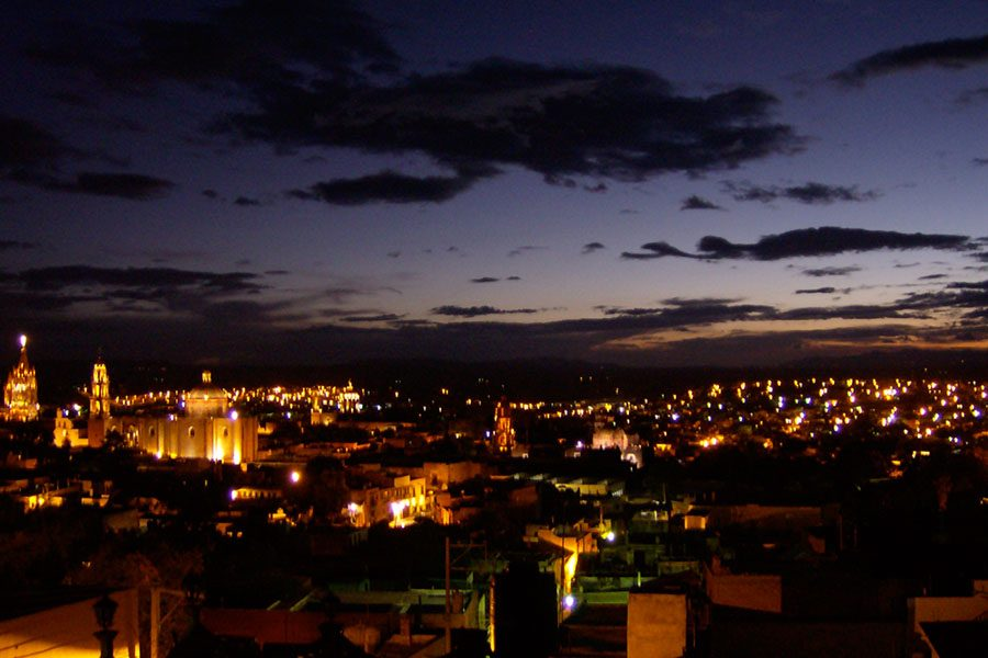 The lights of San Miguel from a rooftop was a must see at sunset.