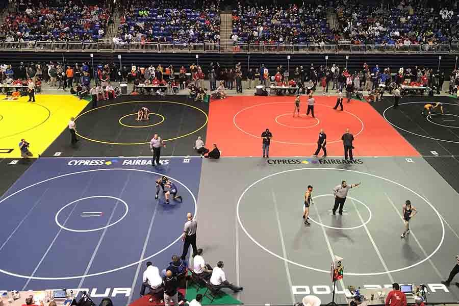 With+eight+mats%2C+the+Berry+Center+in+Cypress+was+the+hub+of+Texas+high+school+wrestling+on+Friday+and+Saturday.+For+the+Redhawks%2C+the+state+tournament+resulted+in+a+third+place+finish+for+the+guys+and+a+fifth+place+finish+for+the+girls.+
