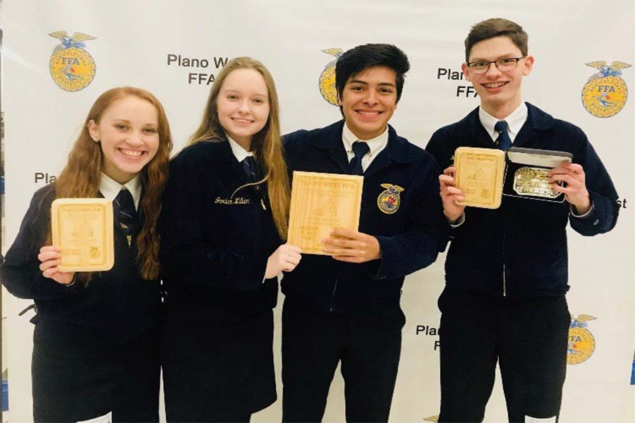 The Farm Business Management team, Brogan Gunia, Jordan Miller, Mario Puerto, and Kirk Niekamp, along with the Milk Quality Team, heads to state at Sam Houston State University on Wednesday.
