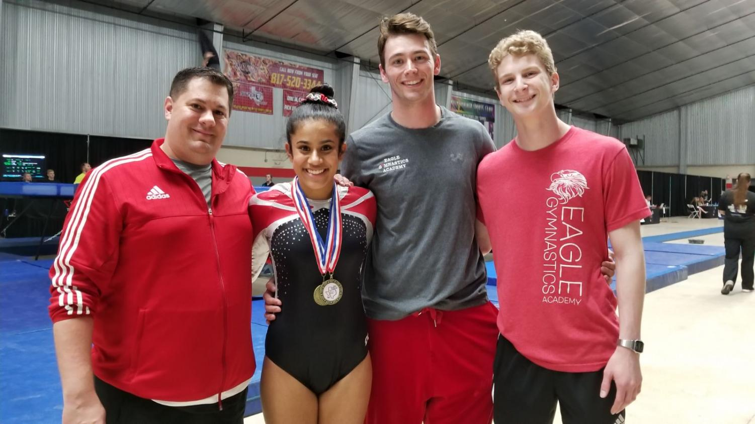 Freshman Mihika Sharma (second from left) qualified for nationals for the third year in a row.