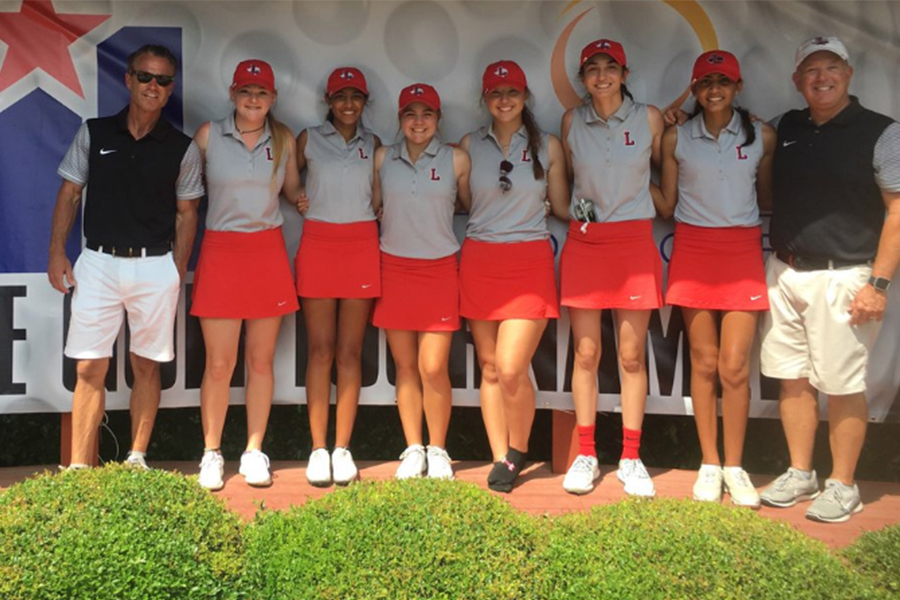 Making state is nothing out of the ordinary for the girls' golf team as they have qualified four years in a row. Flanked by assistant coach Adam Davidson and head coach Shannon Glidwell, the 2018 girls' golf team of senior Madison McGarrh; sophomore Sona Shah; freshman Raeleigh Davidson; senior Sarah Buss; freshman Maya Jain; and senior Rakhi Shah placed 7th in the 5A UIL State Tournament.