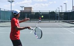 Ready to return the ball,      tennis sets their eyes on the opposite side of the court. On Thursday, the Redhawks take on Georgetown in the UIL 5A state tournament.