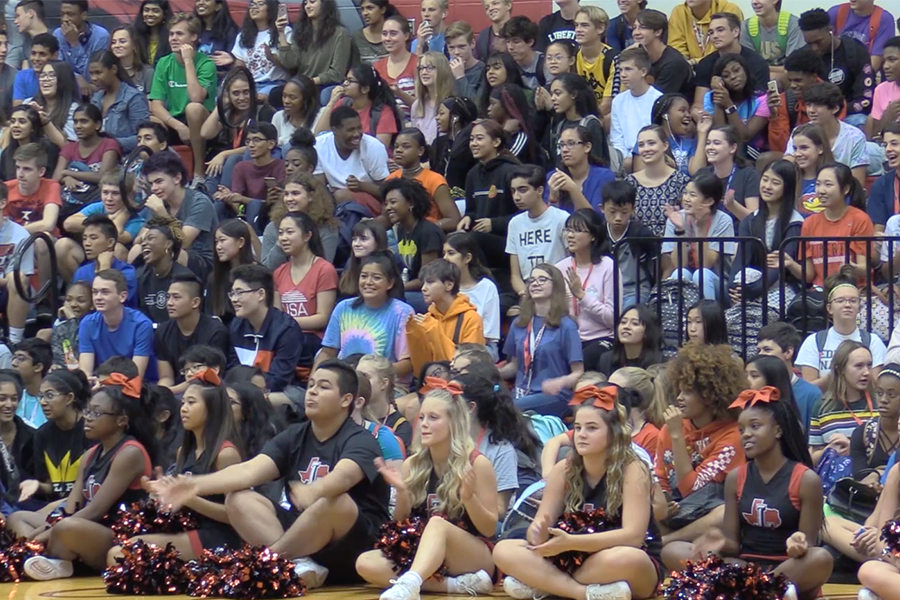 Student fill the gym at one of the school's first pep rallies of the year. With nearly 2,000 students on campus, and new students constantly enrolling, the growth on campus is similar to what is being seen throughout the district.