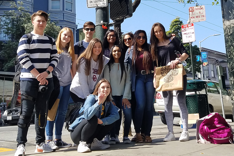 Posing with other Wingspan staff members on a trip to San Francisco in April 2018, editor-in-chief Kasey Harvey writes says that friend groups can change from middle school to high school and that can be a good thing as it allows a person to discover new relationships.