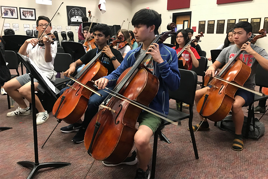 Heading to the Allen Performing Arts Center, 36 members of the orchestra are recording a submission for entry into the TMEA Honor String Orchestra Competition.