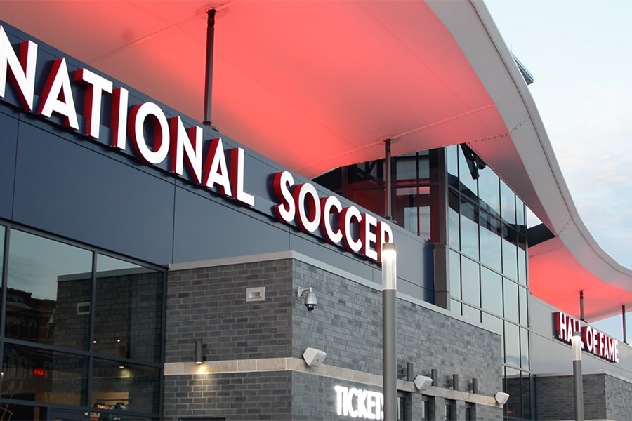 Sitting+at+the+south+end+of+Toyota+Stadium%2C+the+National+Soccer+Hall+of+Fame+was+built+into+the+stadium+as+part+of+a+renovation.+The+National+Soccer+Hall+of+Fame+opens+to+the+public+on+Nov.+2%2C+2018.+