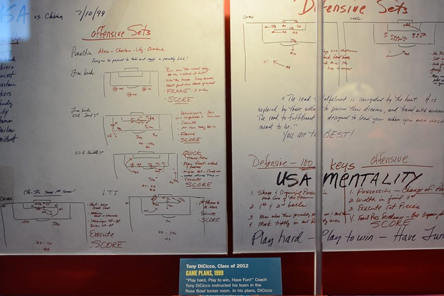 One of the displays features the pregame notes on a whiteboard from   U.S. womens national team head coach Tony DiCicco who led the team to the Olympic gold medal in 1996 and the 1999 FIFA Womens World Cup.