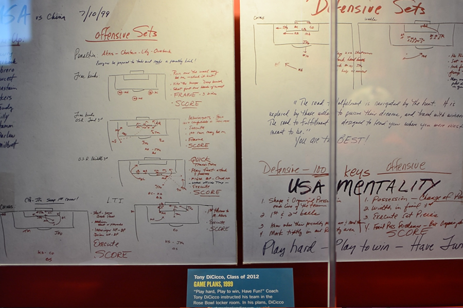 One+of+the+displays+features+the+pregame+notes+on+a+whiteboard+from++%0AU.S.+women%27s+national+team+head+coach+Tony+DiCicco+who+led+the+team+to+the+Olympic+gold+medal+in+1996+and+the+1999+FIFA+Women%27s+World+Cup.