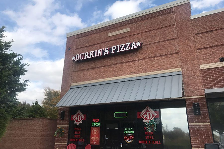 Locally owned Durkin's Pizza serves up fresh pies daily just down the street from school. Having a variety of options and a club-like feel, Durkin's Pizza is a hot spot for people around Frisco.